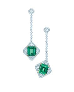Tiffany drop earrings with emerald-cut emeralds and diamonds in platinum and 18 karat gold.