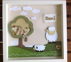 Quadro porta maternidade Dyi Crafts, Frame Crafts, Crafts To Make, Crafts For Kids, Paper Crafts, Baby Shower, Art N Craft, Button Art, Baby Room Decor