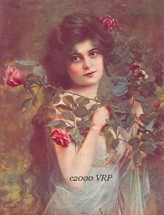 Victorian Lady & Roses