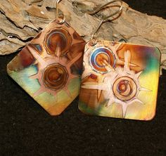 Square copper earrings yellow green copper jewelry by Dawily.