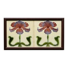 An Art Nouveau low relief two tile panel with polychrome iris motifs on a cream ground. Condition: one or two...