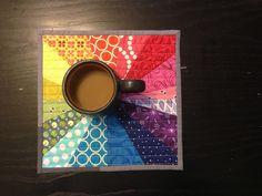 mug rug - rainbow quilt Mug Rug Patterns, Quilt Patterns, Canvas Patterns, Small Quilts, Mini Quilts, Place Mats Quilted, Rainbow Quilt, Quilted Gifts, Fabric Postcards
