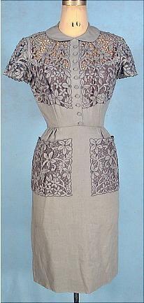 ~c. 1950's SAMUEL WINSTON by ROXANE Blue/Gray Linen Battenberg-Like Illusion Lace Dress~