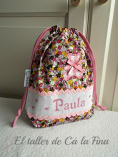 Bolsita para pañales personalizada para Paula #bebes #canastillas