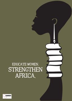Educate Women - Strengthen Africa (stack of books - silhouette - black and white - forest green - simple - pen and ink - screen print? - African Woman - vector - communication design - graphic design - advertising - advertisement - poster)