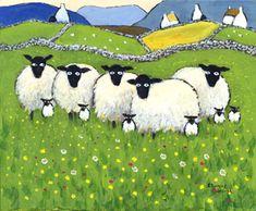 Family Album - by Thomas Joseph Art And Illustration, Illustrations, Sheep Art, Ewe Sheep, Sheep Paintings, Sheep And Lamb, Naive Art, Whimsical Art, Landscape Art