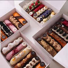 Eclair by . I am fan of their eclairs! Its so glamour and original! Cute Desserts, Delicious Desserts, Yummy Food, Dessert Drinks, Dessert Recipes, Best Korean Food, Eclair Recipe, Bakery Packaging, Chocolate Packaging