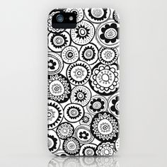 Black & White medallions iPhone & iPod Case by Doris & Fred - $35.00