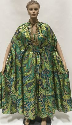 7d022d19ed9 Cape Dress 2 Piece Maxi 60s Statement Caftan Kimono Poncho Green Gold  Metallic Vintage Frock