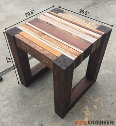 Woodworking Plans DIY Scrap wood side Table Plans - 3 - A step-by-step tutorial showing you how to make a great looking side table from your scrap pile! No woodworking experience required. Small Wood Projects, Scrap Wood Projects, Carpentry Projects, Diy Outdoor Wood Projects, Carpentry Jobs, Scrap Wood Art, Scrap Wood Crafts, Reclaimed Wood Projects, Repurposed Wood