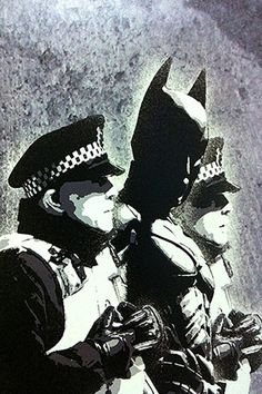 Batman and The Police by Banksy Graffiti Canvas Print #2192