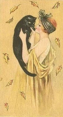 Art Nouveau lady with black cat … Art Nouveau lady with black cat Images Vintage, Vintage Art, Crazy Cat Lady, Crazy Cats, Art Deco Illustration, Cat Illustrations, Gatos Cats, Cats And Kittens, Ragdoll Kittens