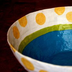 different color for the inside and outside of the bowl, or to add pattern. You can stamp and stencil, freehand