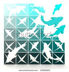 3D marine pixelated fishes turn to life, in jigsaw style. Can be use for decoration