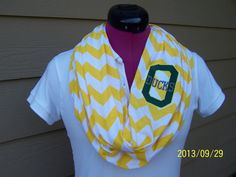Oregon Ducks Yellow & White Game Day Chevron Infinity Scarf  Knit Jersey on Etsy, $28.00