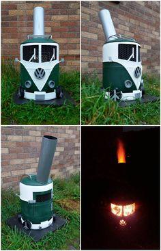 #Burner, #Camperva, #Firepit, #Fireplace, #Log, #Vw I made this campervan log burner for the garden from scrap metal, I have since made several for friends and family.