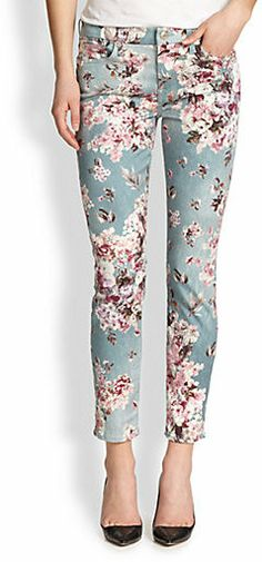 7 For All Mankind / The Ankle Skinny Floral-Print Jeans on ShopStyle