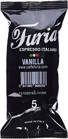 Caffe Furia Vanilla, Italian Coffee Capsules For Nespresso Espresso Makers, 5 Count (Pack of 20)