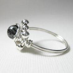 Malachit Ring Draht gewickelt Sterlingsilber Duett--jeder Größe Ich ...