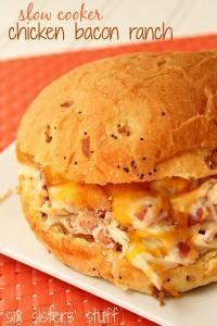 Six Sisters Slow Cooker Chicken Bacon Ranch Sandwiches on MyRecipeMagic.com