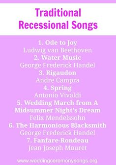 Processional Songs   Processional songs, Traditional weddings and ...