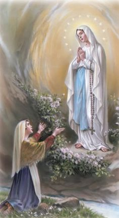 Our Lady of Lourdes and St.Bernadette praying at her feet. Catholic Prayers, Catholic Art, Catholic Saints, Religious Art, Religious Pictures, Jesus Pictures, Blessed Mother Mary, Blessed Virgin Mary, Bernadette Of Lourdes