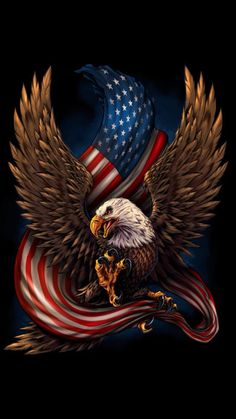 United States Bald Eagle with Flag, America Love It or Leave It, Patriotic Art on metal sign, vintage style garage art wall decor American Flag Decal, American Flag Eagle, American Pride, Aigle Animal, Patriotic Pictures, Eagle Tattoos, Wolf Tattoos, Animal Tattoos, Vintage Metal Signs