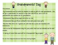 This unit is filled with lots of writing, songs, poems, and projects that make great gifts for  Grandparents Day.  This includes:*My Grandparent...