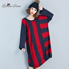 BelineRosa Women's Striped Dresses England Style Dark Blue and Wine Red  Loose Long Knitting Dress for Women  XM0025