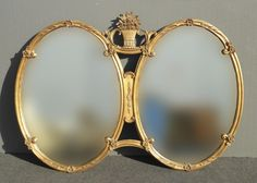 Rare Vintage French Provincial Gold Double Pane Oval Baroque Wall MANTLE MIRROR #BaroqueFrenchProvincial