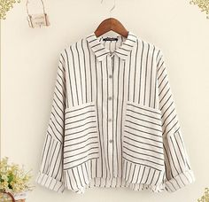 Two pockets striped Turn-down collar batwing long sleeve shirt blouse women mori girl autumn