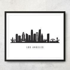 Los Angeles Skyline Printable - Commercial Use - Los Angeles Black White Wall Art - Digital Print - Black And White Wall Art, White Walls, Black White, Los Angeles Skyline, Very Nice Pic, Skyline Art, Print Store, Digital Prints, Digital Art