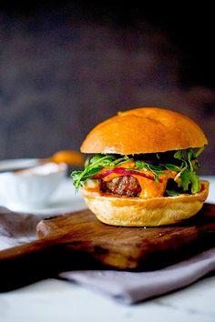 Harissa Burger via Feasting at Home #recipe