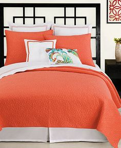 Trina Turk Bedding, Santorini Coral Full/Queen Coverlet - Quilts & Bedspreads - Bed & Bath - Macy's Bridal and Wedding Registry