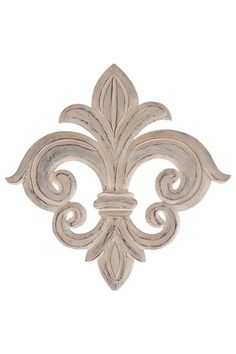 "Rustic Vintage Furniture  Wood Fleur de Lis Decor  Add a bit of French flair to your wall with this rustic Fleur de Lis design.  - Weathered finish  - Color: white  - Ready to hang  - Approx. 24"" W x 24"" L x 1"" D  $90.00"