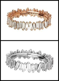 Two baguette eternity bands from Suzanne Kalan's Devoted Collection. One is rose gold, and the other is white gold.