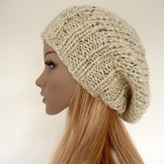 Slouch beanie - hand knitted hat in cream with multicolor flecks - slouchy hat - unisex   I NEED THIS PATTERN!
