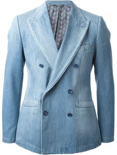 Shop designer Denim Jackets today at Farfetch. Designer Denim Jacket, Denim Jacket Men, Suit Jacket, Blazer Jeans, Formal Men Outfit, T Dress, Double Breasted Blazer, Denim Outfit, Blazers For Men