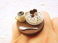 Kawaii Japanese Food Ring Coffee Ice Cream Food by SouZouCreations