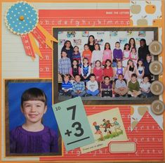 I like the kids pic and the class on the same page School days - Scrapbook.com