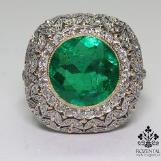 ANTIQUE ART DECO PLATINUM DIAMOND & 3.57 CTW EMERALD RING $17500 Period: Art deco (1920-1935) Composition: Platinum Stones: • 106 Old mine cut diamond of H-VS2 quality that weighs 1.80ctw. • 1 Natural Colombian cut emerald GIA certified that weigh 3.57ctw. Ring size: 7 3/4 Ring face: 20mm in diameter. Rise above finger: 11mm. Total weight: 9.2 grams – 6 dwt