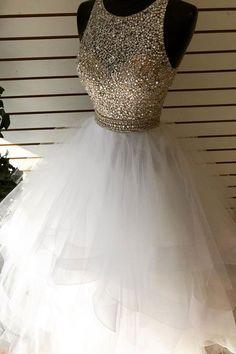 On Sale Splendid Sequin Prom Dress White Round Neck Tulle Sequin Beads Long Prom Dress, White Evening Dress Dama Dresses, Cute Prom Dresses, Long Prom Gowns, Quince Dresses, Sweet 16 Dresses, Quinceanera Dresses, Pretty Dresses, Homecoming Dresses, Evening Dresses
