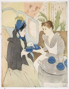 """'Afternoon Tea Party,' Mary Cassatt, 1891, color prints with drypoint and aquatint, part of the exhibition """"Daring Methods: The Prints of Mary Cassatt"""" at the New York Public Library. Drinking tea was part of the daily life of women in Cassatt's social circles, but it has appropriately Japanese overtones, too. Here, touches of gold on the cups, saucers, plate, and pitcher were applied with a brush in the fifth and final state."""