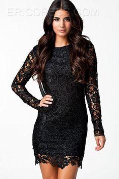 Black Lace Long Sleeves Crochet Open Back  Sheath Dresses 2