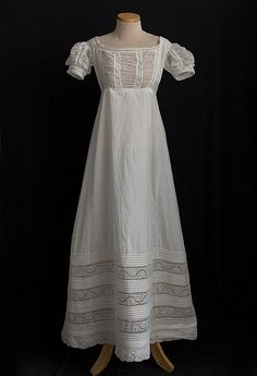 Embroidered white cotton dress, early 1820s