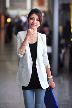 OL Style Collarless Polka Dot Lining One Button Design Long Sleeve Slimming Solid Color Blazer For Women (WHITE,M) China Wholesale - Sammydress.com