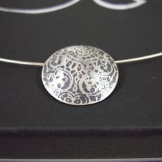Sterling SIlver Antique Lace Textured Pendant - Sarah Brooks Jewellery