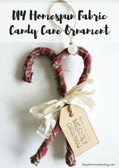Love this idea of wrapping homespun fabric around plastic candy canes to make an ornament ! DIY Homespun Fabric Christmas Ornaments - Click through for detailed tutorial for 4 different kinds of DIY Christmas ornaments. They make great handmade Christmas presents! Primitive Christmas Decor } Rustic Christmas Decor   Primitive Christmas Ornament