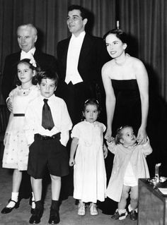 Charlie Chaplin with his son Sydney Chaplin, his fourth wife Oona O'Neill, and their children Geraldine, Michael, Josephine, and Victoria