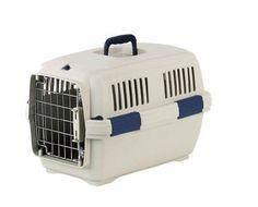 Aus der Kategorie Tragetaschen & Wagen  gibt es, zum Preis von EUR 29,99  Kunststoff-Transport-Box für Hunde und Katzen mit Metalltür vorne und Griff oben.
